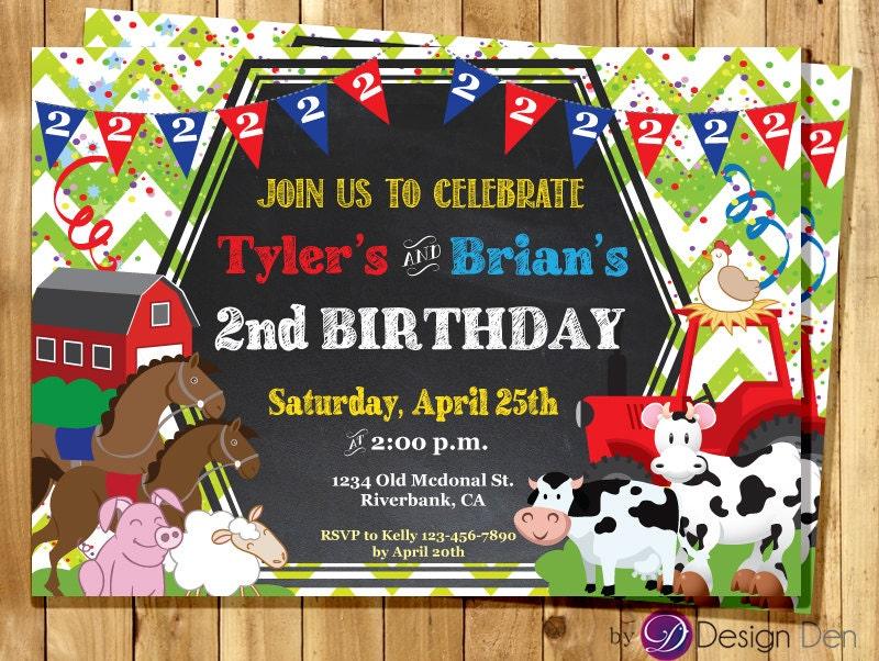 Farm Animals twin JOINT Birthday Invitation / Farm Animal