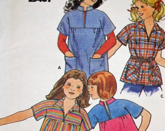 """UNCUT, Vintage, 1970s, Sewing Pattern, Butterick 5221, Girls' Blouse, Girls' Size 7, Breast  26"""", 1970s Pattern, OLD2NEWMEMORIES"""