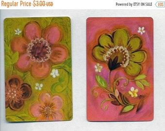 ON SALE Vintage Retro Pink Flower Playing Cards Paper emphera Scrapbooking Junk Journel Collage
