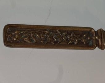 Antique Art Nouveau Flower Design Brass Letter Opener Tool Paper Knife