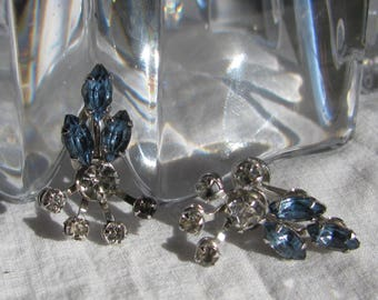 Mid Century BUGBEE and NILES Hallmarked Floral Spray Sapphire Blue Rhinestone Earrings, Silver Screw Backs, 1950's