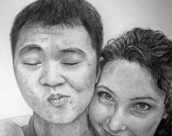 Photorealistic Custom Pencil Drawing of TWO People, Black and White Commissioned Drawing from Photo