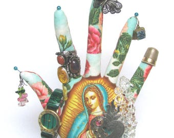 TALL Our Lady of Guadalupe Fabric HAND-Stand ~ Ready to Ship
