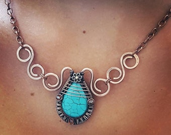 Wire wrapped copper necklace turquoise, copper wire necklace, wire wrap necklace copper wire jewelry, blue stone necklace gemstone jewelry