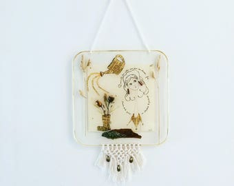 Table poetic resin, macrame, nature, illustrations