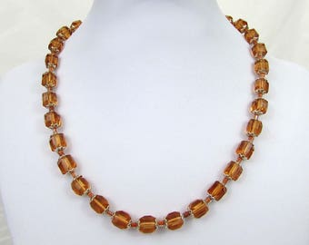 """Amber Crystal  Bead Necklace on Cord - 18"""" long - 1930s-40s"""