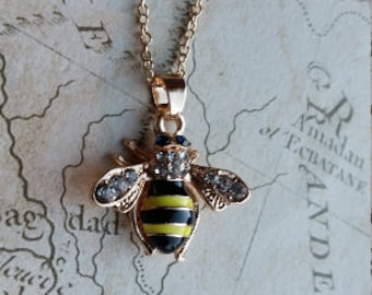 Bee Necklace, Bee Jewellery, Bee Jewelry, Bumble Bee Necklace, Bumble Bee Jewellery, Bee Gift, Gold Bee, Insect Necklace, Bee, Honey Bee,