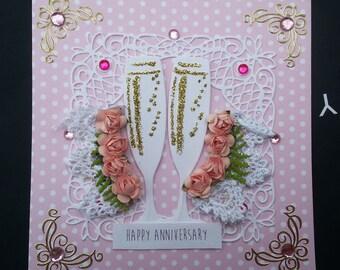 Champagne Glasses pink Happy Anniversary Handmade Card celebrate polka dots