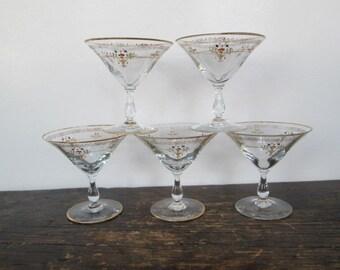 Five Vintage Martini Glasses