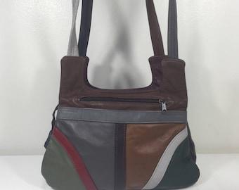 Patchwork Leather Purse, Bag, Made in Mexico, Shoulder Bag, Boho bag,Brown, Green, Red, Gray, Burgundy