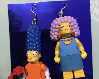 Marge and patty lego earrings