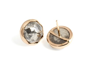 Pyrite Nena studs, Handmade in recycled 14k Gold, Gemstone earrings