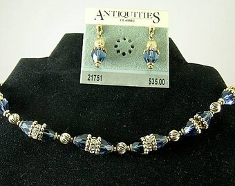 Sapphire Necklace Earrings Set - Elizabethan Renaissance - Victorian