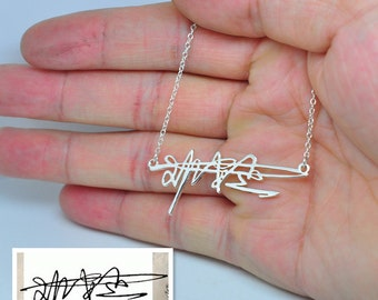 Sterling Silver Signature Necklace, Name Necklace, Personalized Handwriting Necklace, Nameplate Pendent, Bridesmaid Jewelry, Christmas Gift