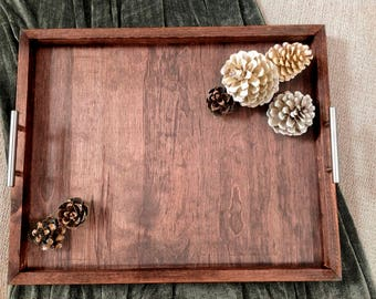 The Horizon Handcrafted Rustic Wood Ottoman Tray -  Large Serving tray (custom sizes available), gift tray, rustic tray, coffee table tray