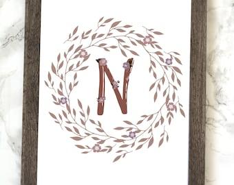 Monogram Letter N Printable, Floral Monogram Letter N Printable, Letter N Wall Art, Letter N Printable, Monogram Printable, Initial Print