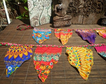 Groovy Happy Bunting, Double Sided Bunting, Tribal Decoration, Folk Art Flag