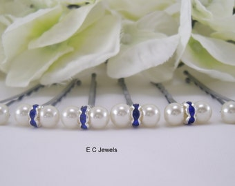 Pearls and Rondelles Hairpins (Something Blue)