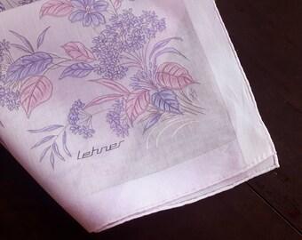 Vintage Cotton Lehner Handkerchiefs Pink Floral