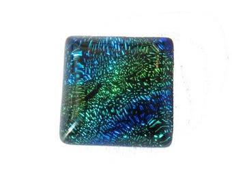 Handmade square 10mm Green/Blue Dichroic Glass cabochon