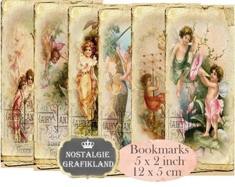 Fairyland Bookmarks Fairies Instant Download digital collage sheet E198 Vintage Paper Fairy