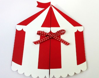 Circus Tent invitation folder. Circus, carnival or side-show birthday party. Big Top in red and white or red and blue. Folder Only.