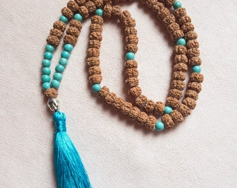 108 bead handemade mala necklace with rudraksha and howlite