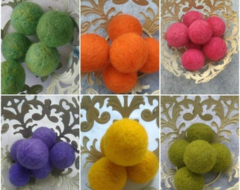 Wool Felt Balls - Mix and Match Wool Felt Beads - Multicolored Felted Balls in Bulk - Felted Beads - 100% Wool Felt Pom Poms - Wool Pompoms