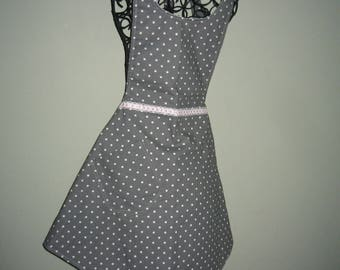 Apron - Grey  with White Polka Dots with Pink trim.