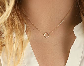 Gift for Her - Open Circle Necklace - Karma Necklace - Jewelry Gift - Dainty Gold Necklace