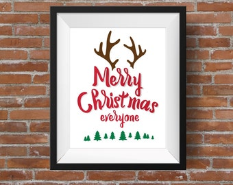 DIY Christmas Printable, Christmas Sign Printable, Merry Christmas Printable, Christmas Wall Art, Reindeer Printable, Holiday Printable