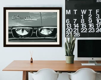 1969 Vintage Black and White Chevrolet Chevelle Car Headlight | Front | *Digital Download Only*