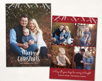 Christmas Card Template -  Merry Christmas Holiday Vertical Photo Card - Photoshop template 5x7 flat card - CC148