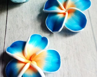 SET OF 2 BEAD BLUE POLYMER CLAY FLOWERS