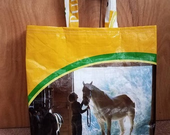 Upcycled Horse Feed Grain Bag Tote