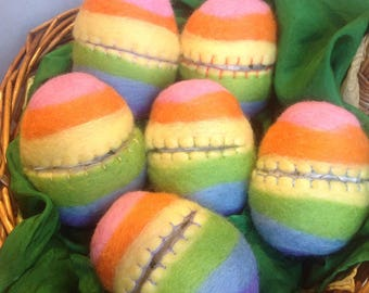 Rainbow hollow fillable wool felted Easter eggs