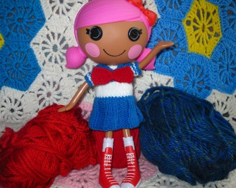 Knitting Pattern for Lalaloopsy Doll Clothes Sailor Dress PDF Instant Download