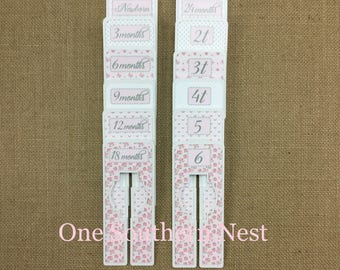"""Rectangle Closet Dividers, Baby Shower Gift, Newborn Baby Gift, size dividers for a baby girl. """"Melissa"""" in pink & white."""