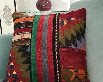 18x18 inch, Decorative Pillows, Kilim Pillow Cover, Turkish Kilim Pillow, Home Decor, Vintage Decor, Designer Pillow, Motif Pillow