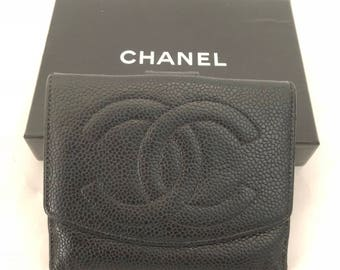reserved CHANEL Vintage CC Logos Compact Wallet Purse Caviar Skin Leather Black Authentic