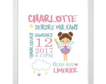 Fairy and Cloud birth date personalised print