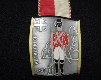 Swiss Sports Medal  Switzerland showing a medieval soldier with rifle in traditional dress Rotröckler 1830 - vintage