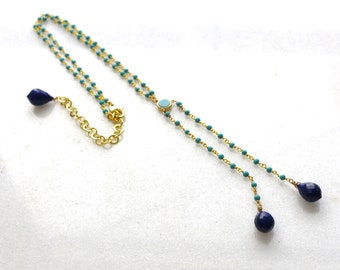 Lapis and Turquoise Gold Lariat Necklace in Vermeil, Sleeping Beauty Turquoise Necklace, Blue Gemstone Necklace...