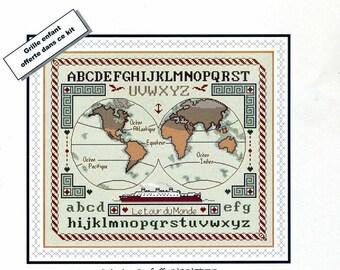 cross stitch Kit counted anagram diffusion: abc world globe