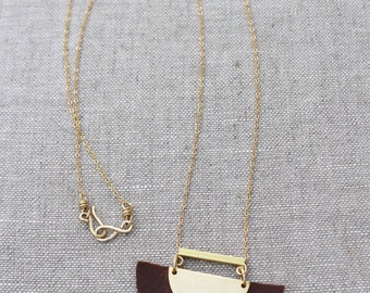 Long Crescent Necklace, Brass, Leather, Geometric