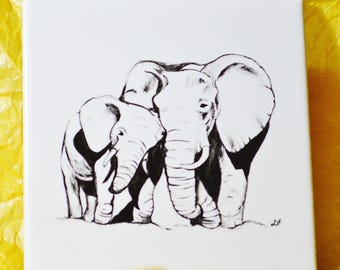 ELEPHANT  Hand painted drinks coaster