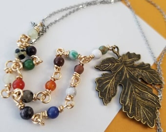 Gemstone necklace, wire wrapped stone necklace, silver and gold, stainless steel chain, multi colored necklace, leaf pendant