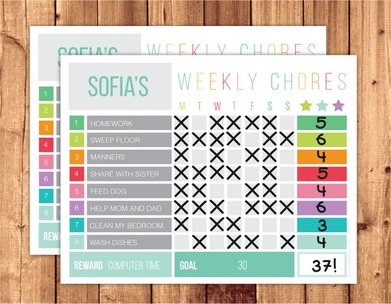 chore reward chart template