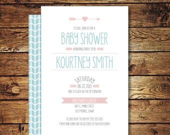 Printable Baby Shower Invitation, Pink and Blue, Girl or Boy Shower Invite, DIY Printable Digital File – KOURTNEY