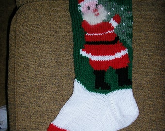 HAND KNIT vintage Christmas stocking, personalized for 2018